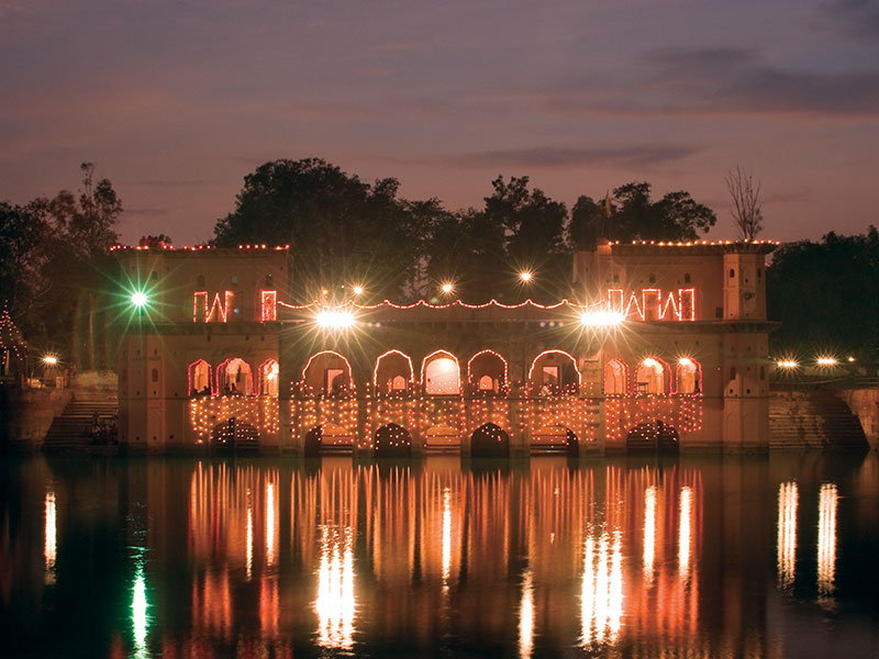 Illuminated Jal Mahal after restoration